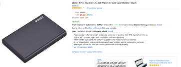 eBoot RFID Stainless Steel Wallet Credit Card Holder, Black