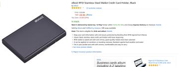 eBoot RFID Stainless Steel Wallet Credit Card Holder, Black