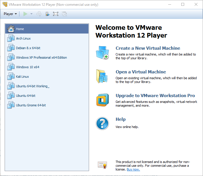 VMware Welcome Screen